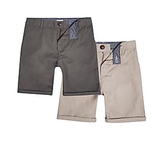 Multipack kaki en kiezelkleurige chinoshort voor jongens