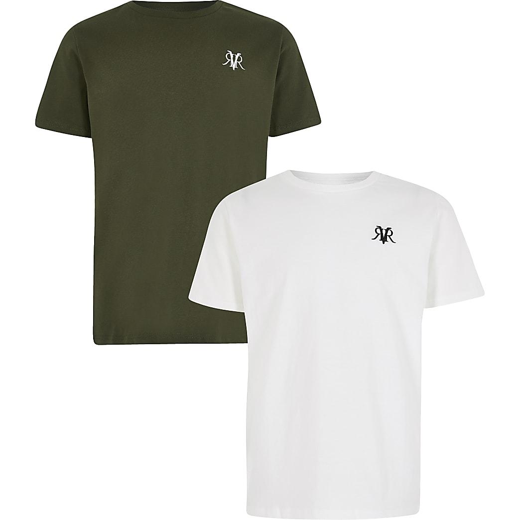 Boys khaki and white RVR T-shirt 2 pack
