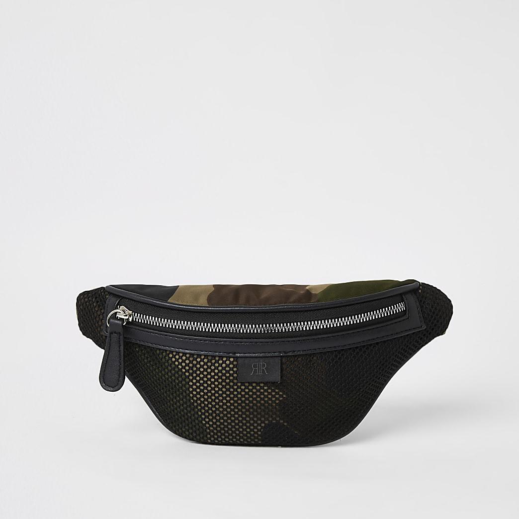 Kaki heuptasje met mesh details en camouflage- en RI-print voor jongens