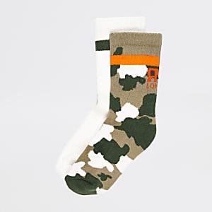 Lot de2 paires de chaussettes côteléescamouflage kaki pour garçon