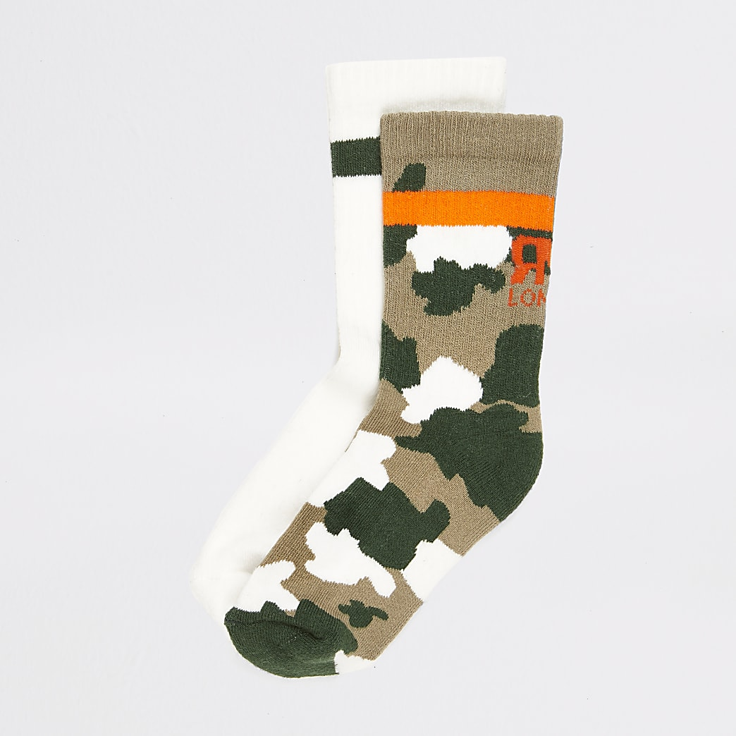 Boys khaki camo ribbed socks 2 pack