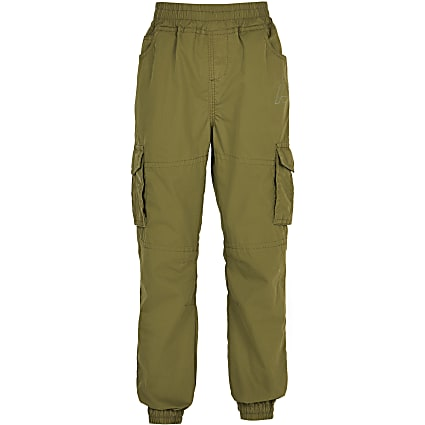 Boys khaki cargo trousers