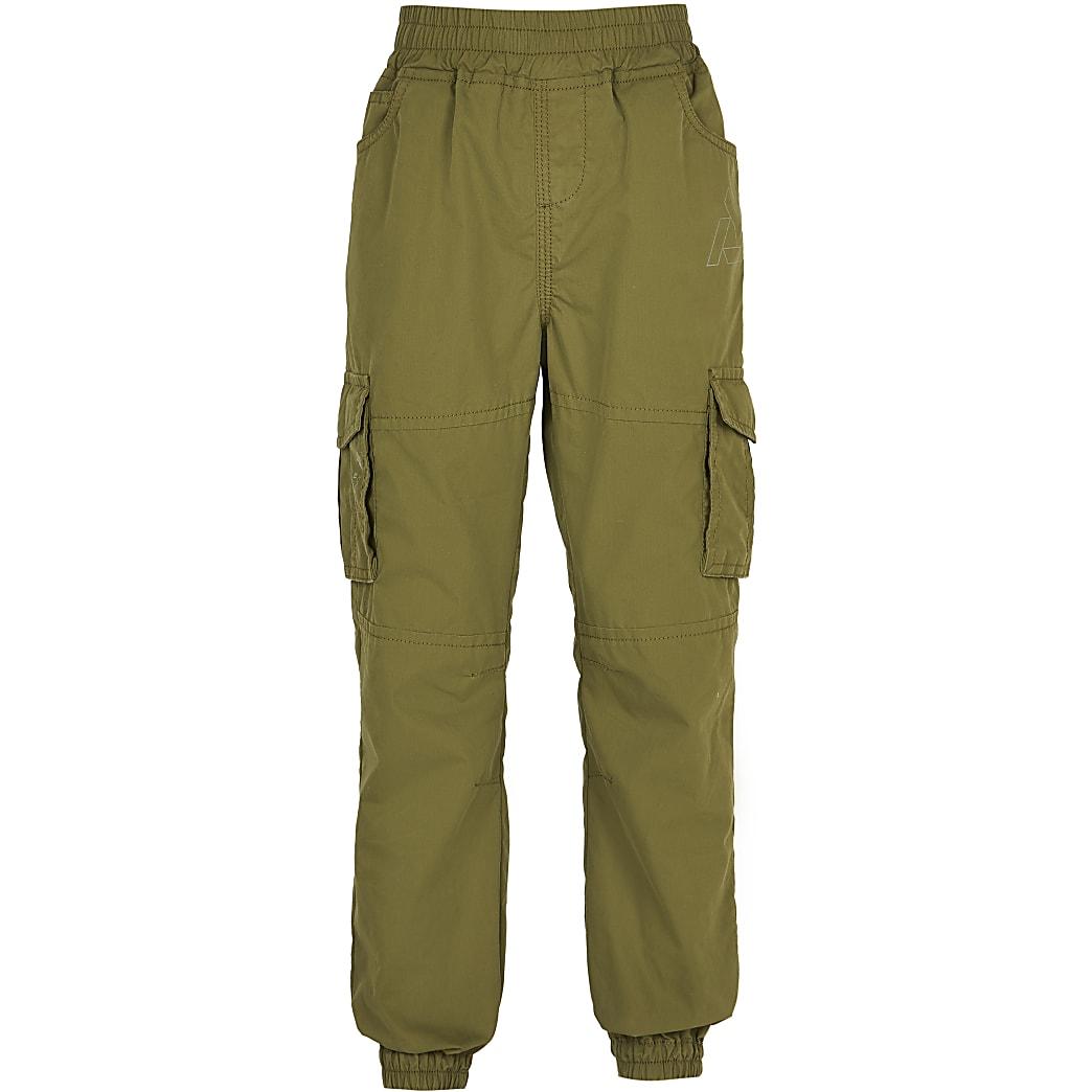 Boys khaki cargo trousers