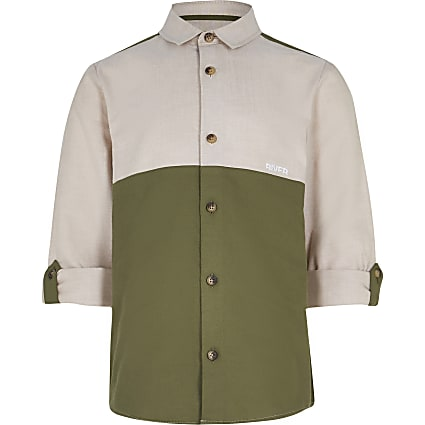 Boys khaki colour block roll up sleeve shirt