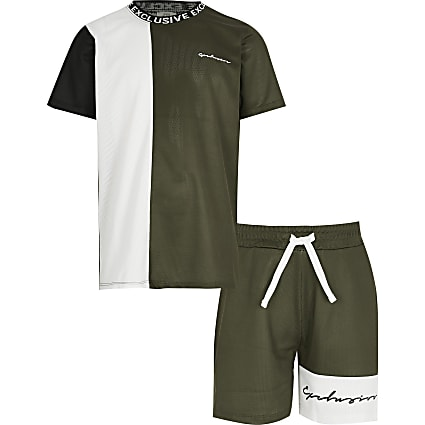 Boys Khaki Colour Blocked Mesh Set