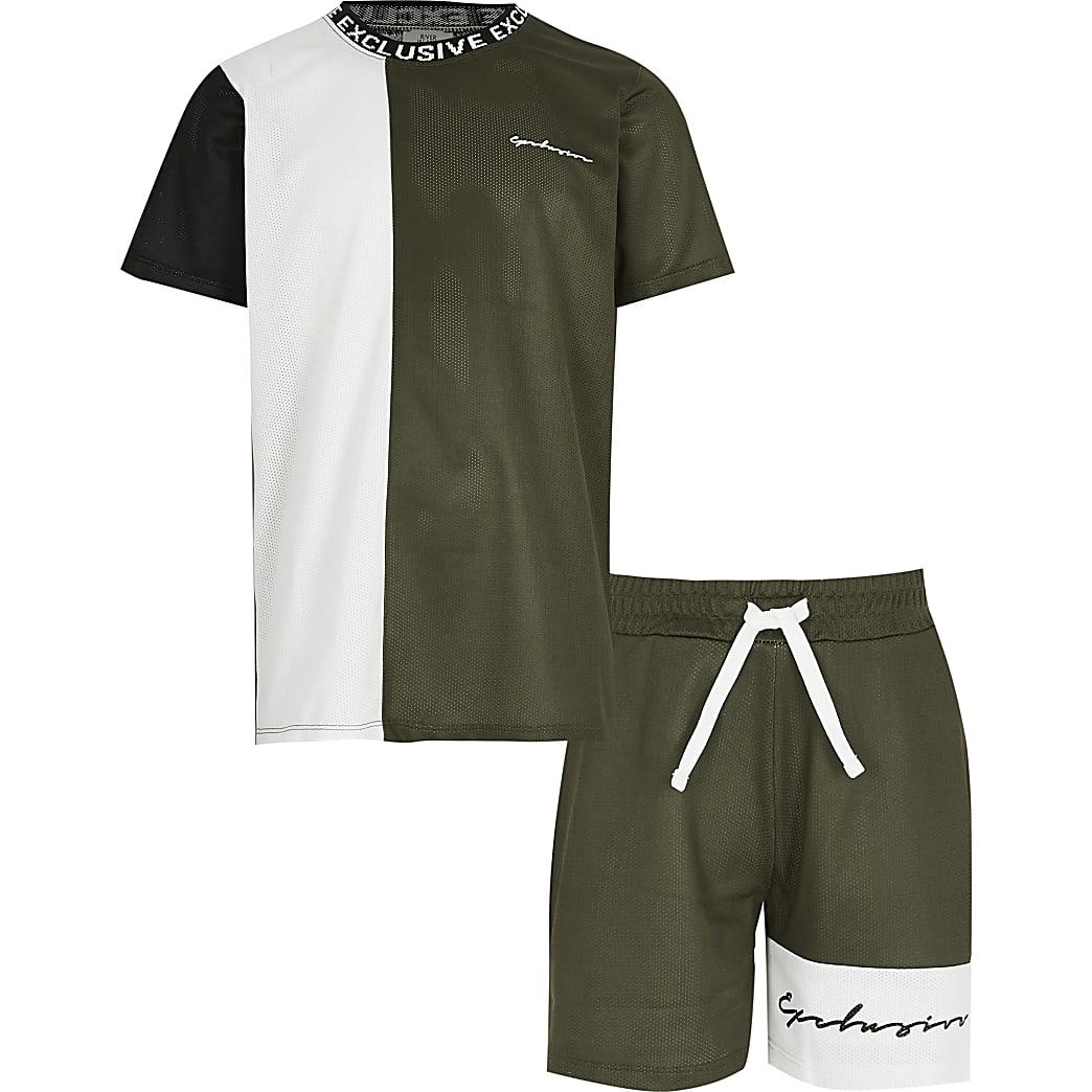 Kaki mesh T-shirt en short set met kleurvlakken voor jongens