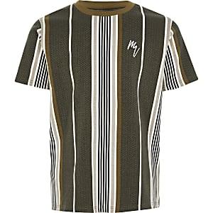 Kaki gestreept T-shirt met visgraatprint voor jongens
