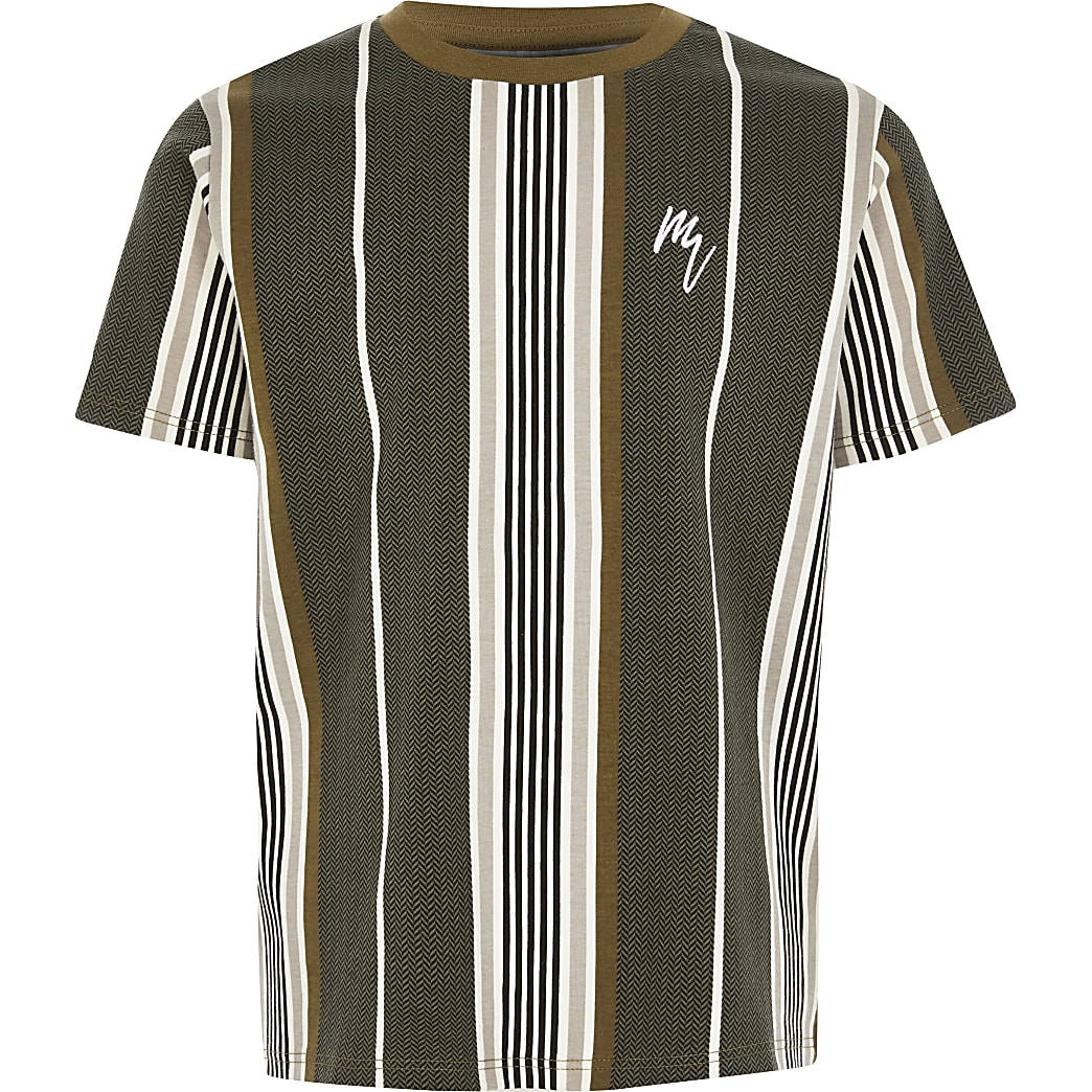 Boys khaki herringbone stripe T-shirt