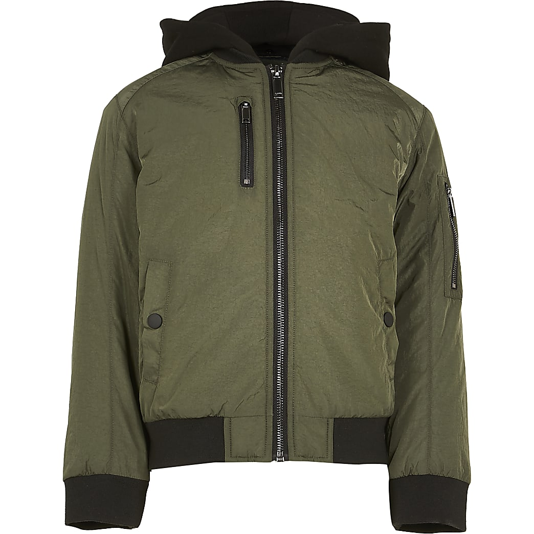Boys khaki hooded bomber jacket