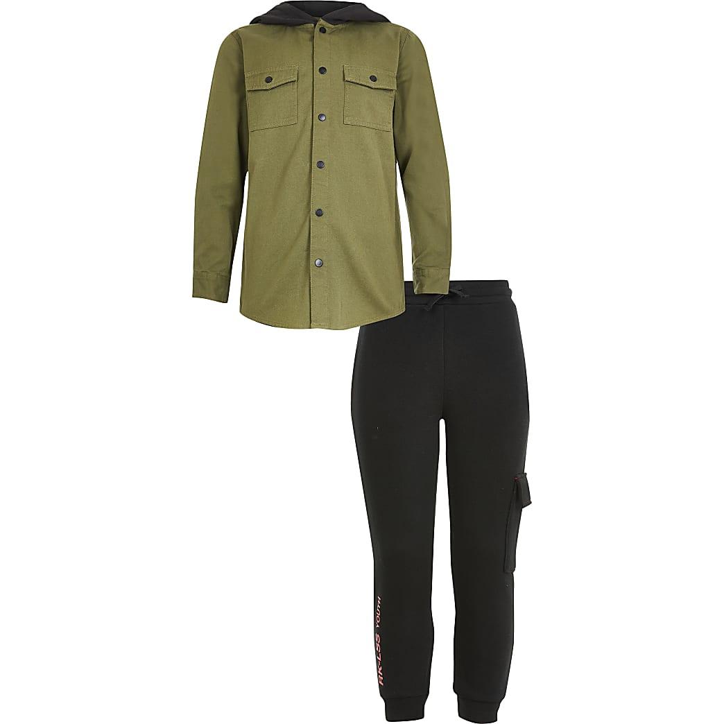 Boys khaki hooded denim shirt outfit