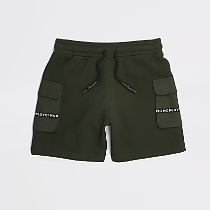 Boys khaki jersey utility shorts