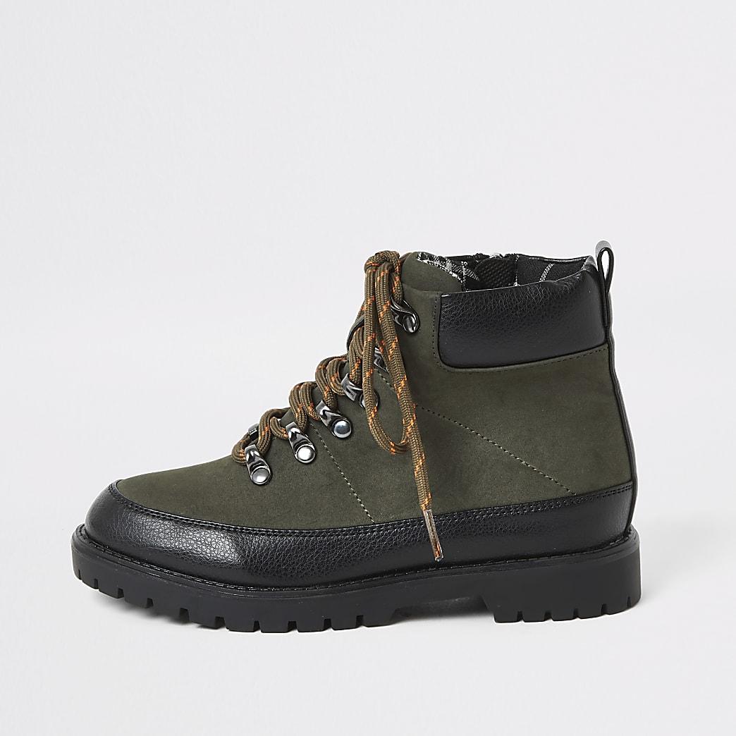 Boys khaki lace-up hiking boots
