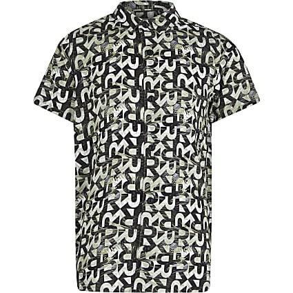 Boys khaki logo print shirt