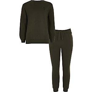Boys khaki Maison Riviera sweatshirt outfit