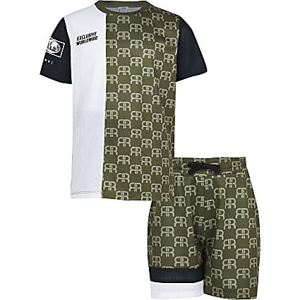Boys khaki monogram mesh shorts outfit