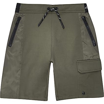 Boys khaki nylon jersey blocked short