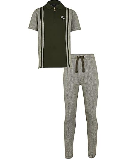 Boys khaki polo shirt and jogger outfit