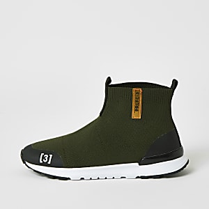 Boys khaki Prolific high top knit trainers