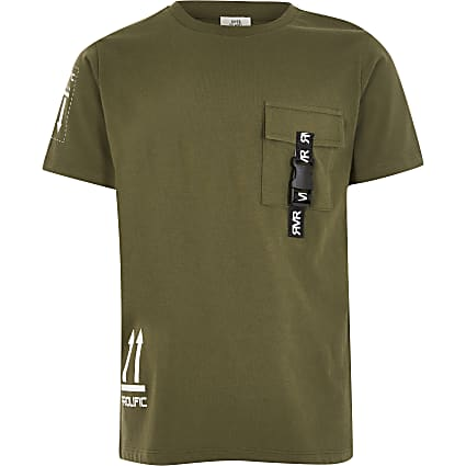 Boys khaki Prolific utility pocket T-shirt