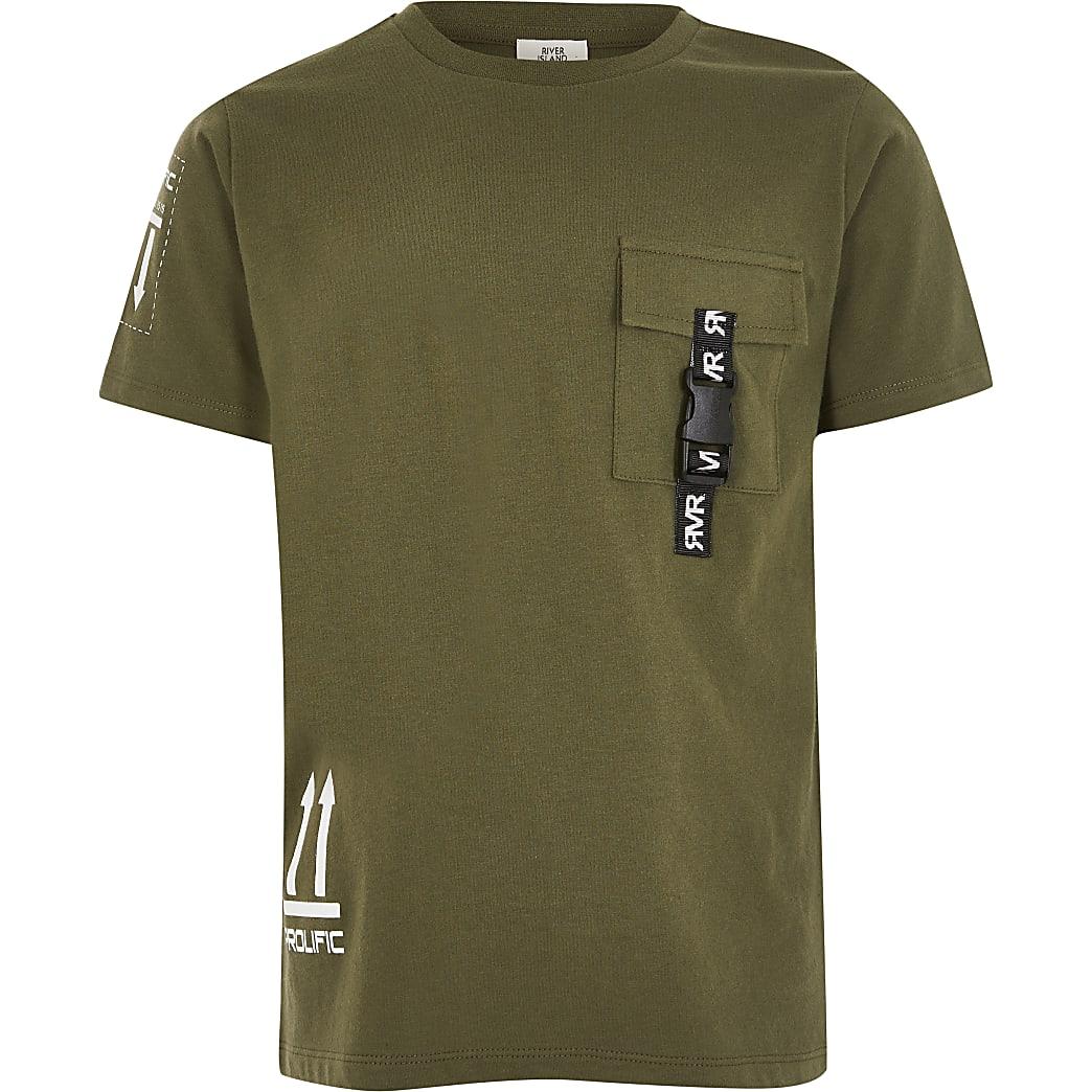Prolific - Kaki utility T-shirt met zak voor jongens