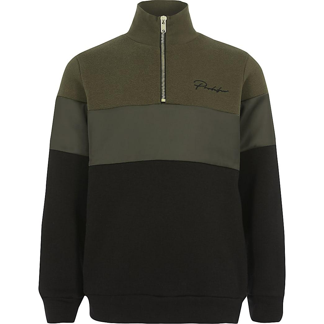 Prolific- Kaki sweatshirt met rits voor jongens