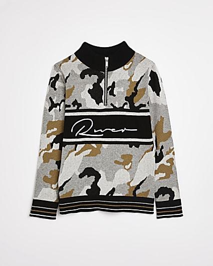 Boys khaki RI camo print jumper