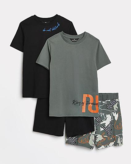 Boys khaki RI dinosaur pyjama sets 2 pack