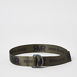 Boys khaki RI printed belt