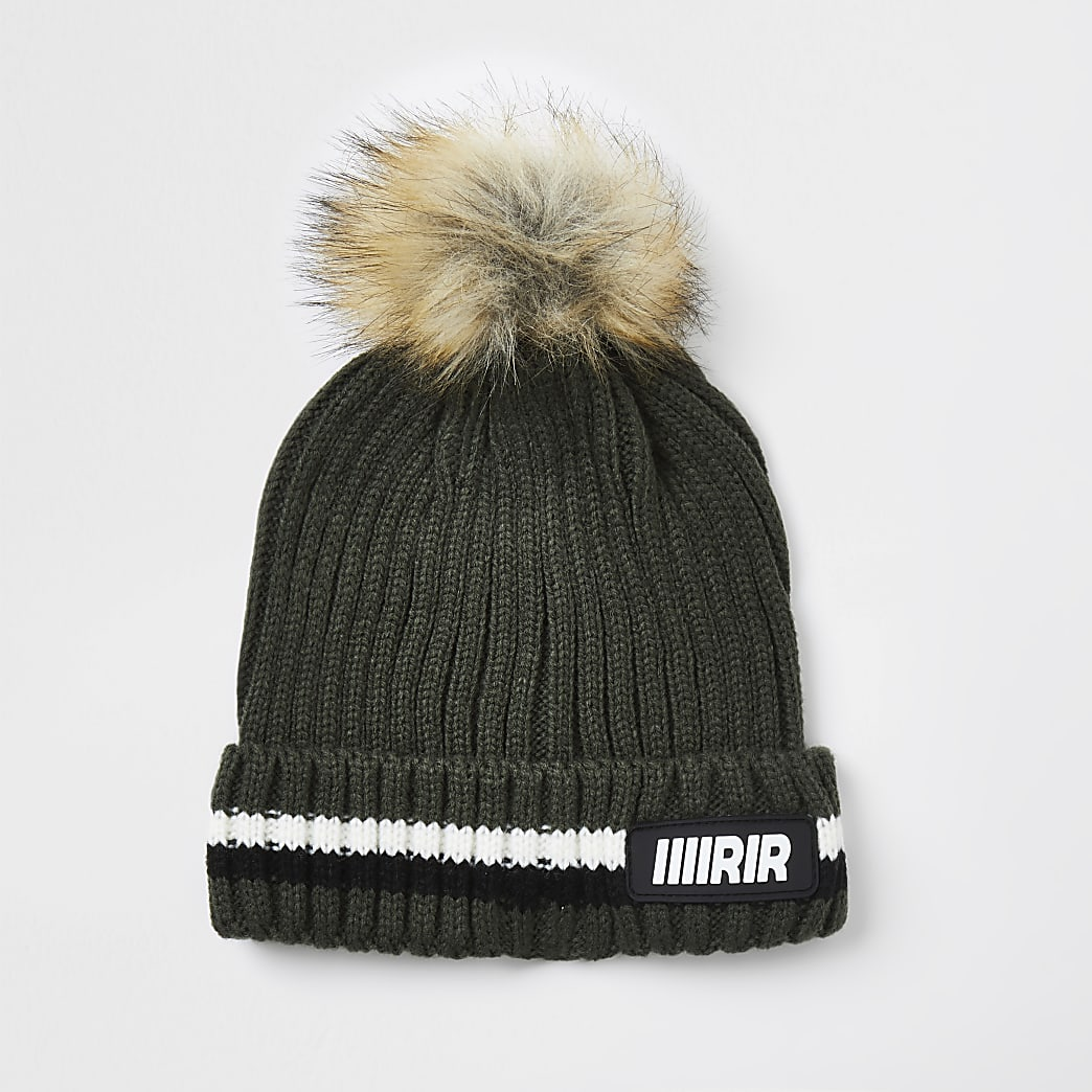 Boys khaki ribbed beanie hat