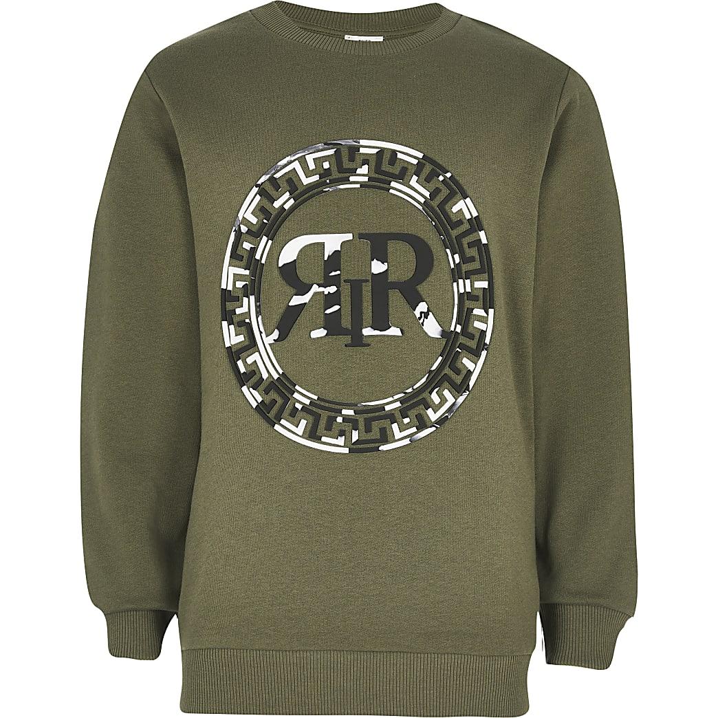 Boys khaki RIR marble print sweatshirt