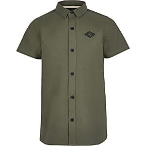 Kaki overhemd met RIR-print en korte mouwen voor jongens