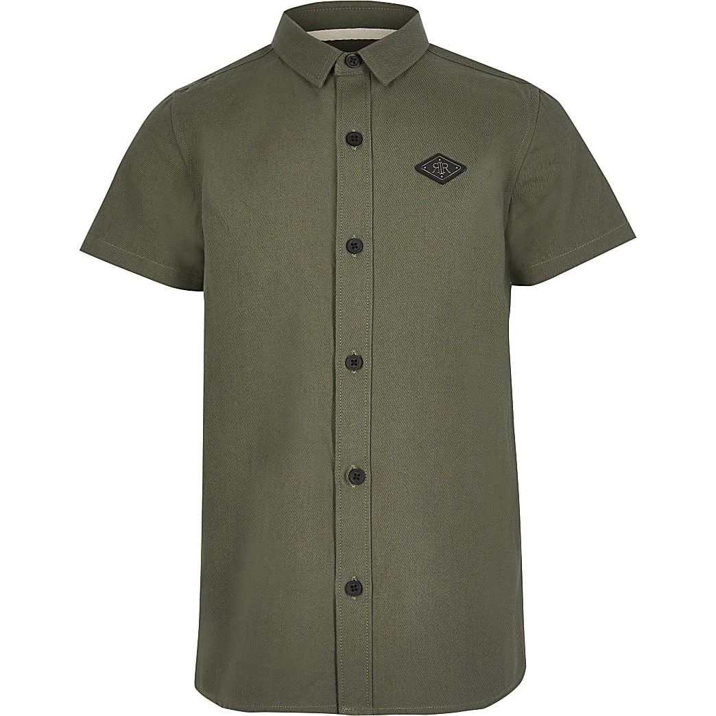 Boys khaki RIR short sleeve shirt
