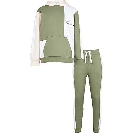 Boys khaki river colour block hoodie outfit