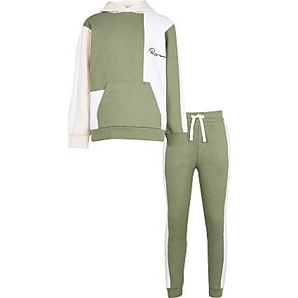 Boys khaki river colour block hoodie outfit
