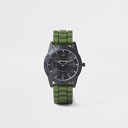 Boys khaki rubber strap watch