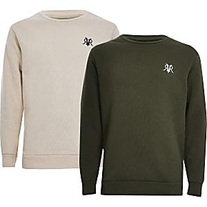 Set van 2 kaki en crèmekleurige sweaters met RVR-letters voor jongens