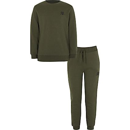 Boys khaki RVR sweatshirt outfit