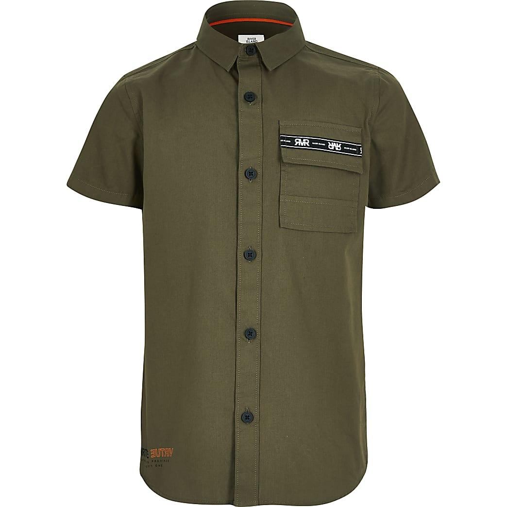 Kaki utility-overhemd met korte mouwen voor jongens