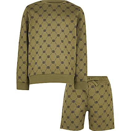 Boys khaki sweatshirt outfit