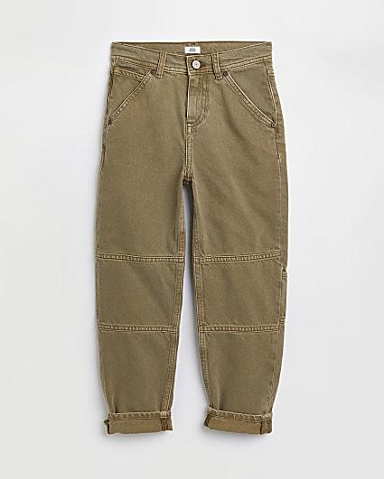 Boys khaki turn up hem jeans