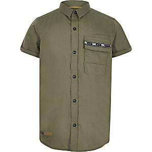 Kaki overhemd met utility-zak voor jongens