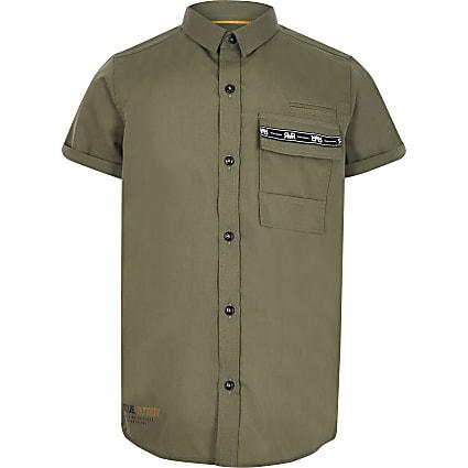 Boys khaki utility pocket shirt
