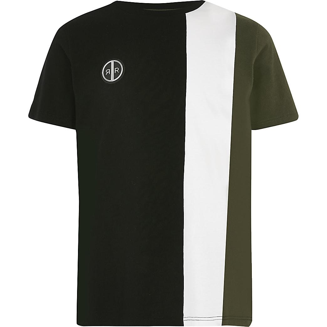 Kaki T-shirt met verticale vlakken voor jongens