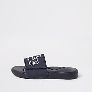 Lacoste - Marineblauwe slippers met logo voor jongens