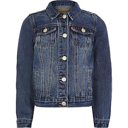 Boys Levi's dark denim trucker jacket