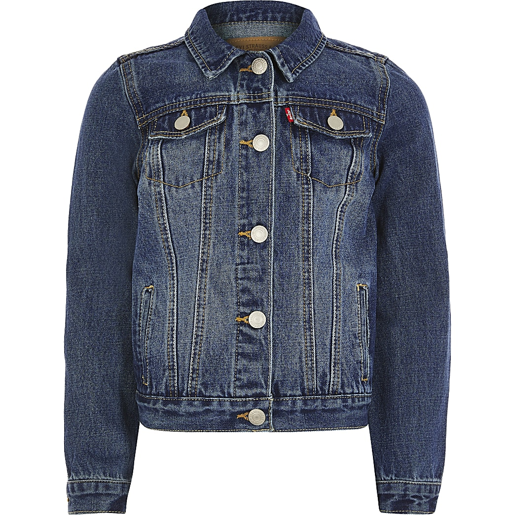 Boys Levi's dark denim trucker jacket