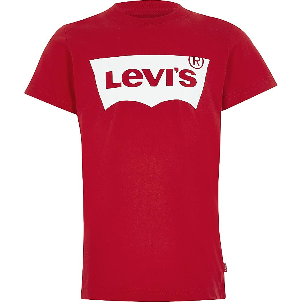 Levi's - Rood T-shirt met logoprint voor jongens
