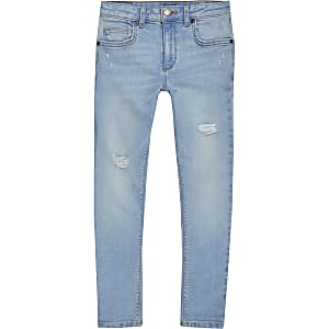Danny – Hellblaue Superskinny Jeans im Used-Look