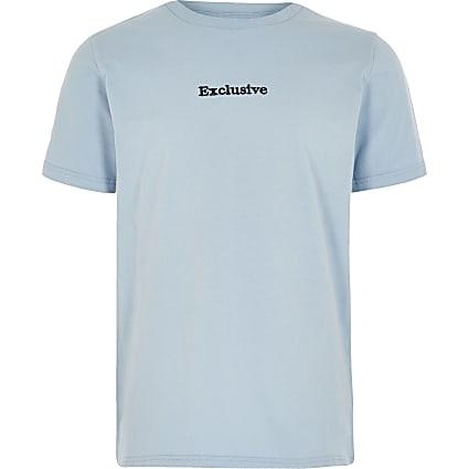 Boys light blue 'Exclusive' T-shirt