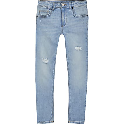 Boys light blue ripped super skinny jeans